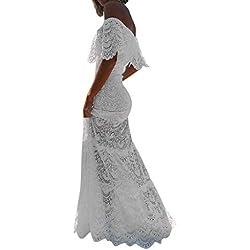 Overdose Vestido Blanco para Damas Cóctel Noche de Fiesta Hombro frío Manga de Volantes Boda Novia Vestido Elegante Puro Encaje Calado Tubo Top Maxi Vestido