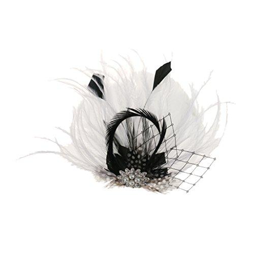 Plume Pince à Cheveux Clip de Côte Orné de Cristal Strass et Faux Perles Accessoire Vintage- Noir Blanc