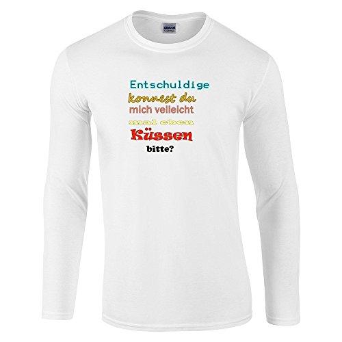 Divertente 035, Born To Be Wild, White Gildan Softstyle Long Sleeve T-shirt Bianco Cotone Uomo Maglietta Mens Top con Design Colorato. Taglia XXL, XX Large