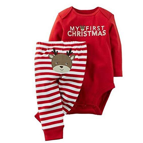 Neonato Unisex Natale Pagliaccetto Santa Applique Tutine Body + Babbo Natale Ricamo Pantaloni Bambino Vestiti Completini (12-18 Mesi, Rosso (Cervo))