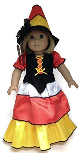 18 Doll Clothes fits American girl Dolls Candy Corn Witch Gown & Hat by Dori's Boutique -