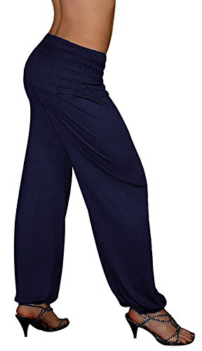 S&LU Damen Haremshose Pluderhose lang in den Größen XXS-6XL (Einheitsgröße XXL-5XL, Dunkelblau)