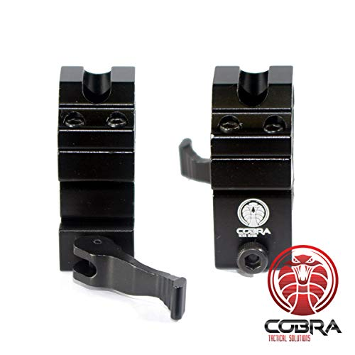 COBRA Tactical Solutions 1-Zoll Adapter für Visier | Medium Profile | Quick Release | Picatinny | für Softair, Luftwaffen, Anthrazit