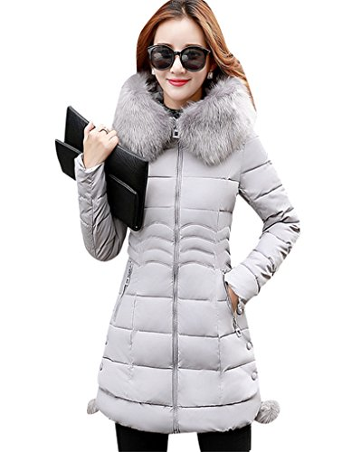 Missmao inverno lungo giacca spessore sottile cappotto imbottito con pelliccia ecologica cappuccio per donna grigio s