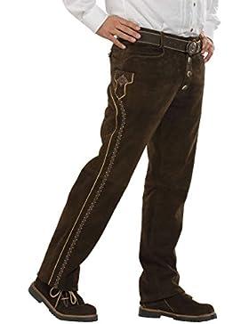 Herren Almsach Lange Trachten Lederhose dunkelbraun 'Toni', dunkelbraun,