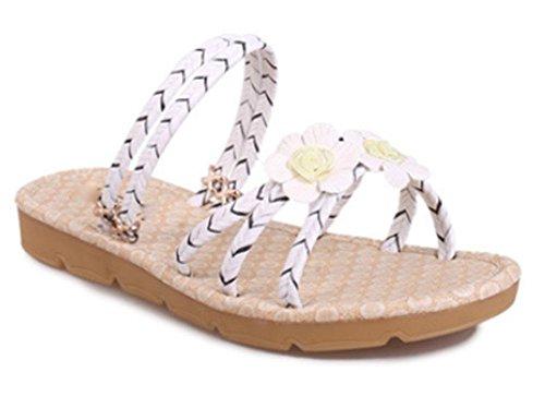 Deux femmes sandales plates sandales fleurs à porter des sandales à bout ouvert et bretelles pantoufles White