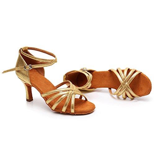 SWDZM Damen Ausgestelltes Tanzschuhe/Standard Latin Dance Schuhe Satin Ballsaal ModellD213-7 Gold EU38.5 - 5
