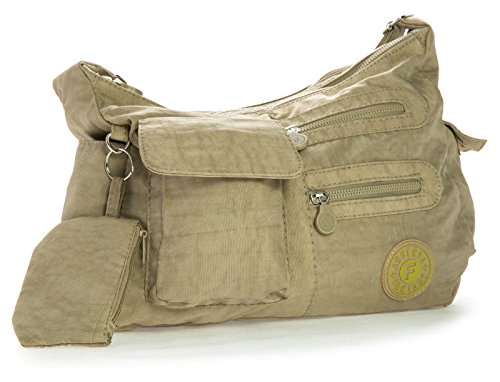 Big Handbag Shop di dimensioni medie borsa a tracolla Unisex in plastica Pouch Marrone (beige)
