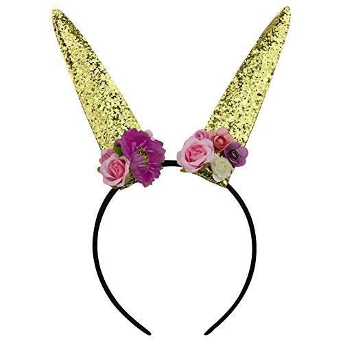 QtGirl Funkeln Kaninchen Häschen Ohren Stirnband Baby Mädchen Blumen Stirnband Haar Zubehör(Gold)