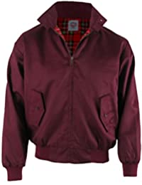 Burgundy WARRIOR Harrington Jacket With Tartan Lining Mod/Scooter S - 3XL