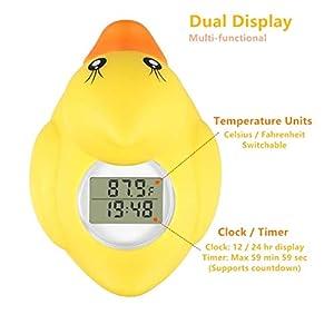 BabyElf Baby Bath Thermometer, Water Temperature Digital Room Thermometer, Floating Thermometer for Bathtub, Swimming Pool with Smart LED Warning