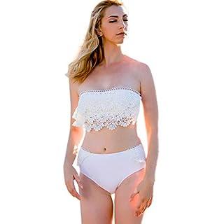 ADESHOP Plus Size Swimsuits For Women, Tummy Control Swimwear, Women Bikini Set Lace High Waist Swimsuit Swimwear Beachwear Bathing Suit(White, M)