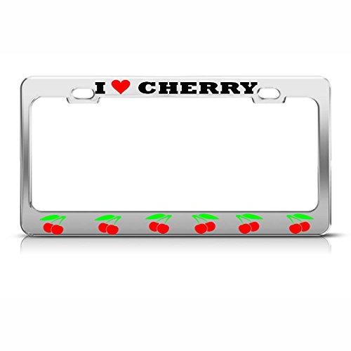 Herren Renegade Motorrad (I Love Cherries Nummernschild-Rahmen, verchromt, Metall, Kirschen-Motiv, ideal für Herren und Damen, Auto-Garadge)