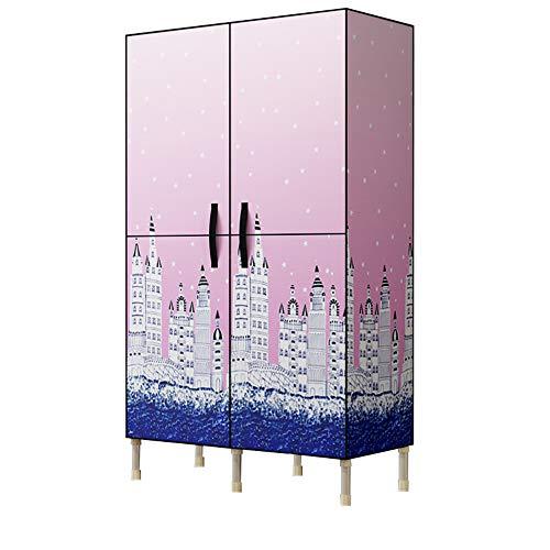 wardrobe Einfache Tuch Kleiderschrank Bold Stahlrahmen Magnet Offene Tür Schrank Cabinet Falttür Doppelgriff Tuch Kleiderschrank Fyxd