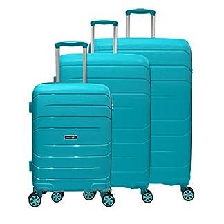 3-tlg-Reisekofferset-Kofferset-Trolley-Reisekoffer-Koffer-Hartschale-petrol