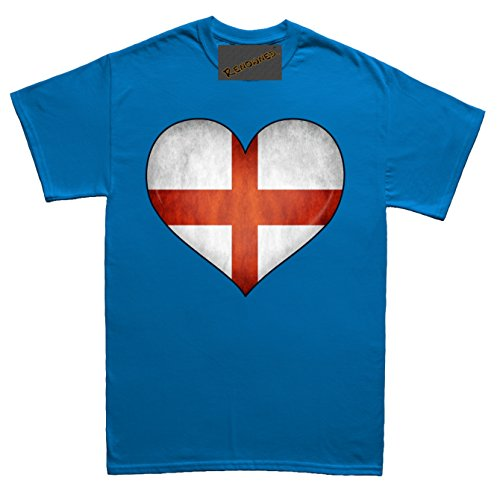 Renowned England Flag Love Heart 3D Unisex - Kinder T Shirt Blau