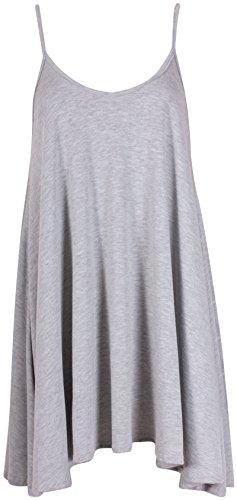 Purple Hanger - Haut Femme Court Evasé et Extensible Sans Manche Décolleté Gris clair