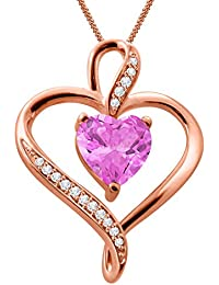 Silver Dew 925 Pure Silver Rose Gold Plated CZ Diamond Pink Sapphire Double Heart Ladies & Women's Pendant