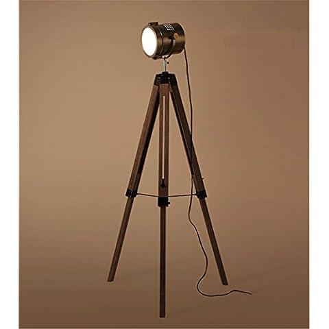 Lámpara de pie trípode luz industriales de piso del estilo antiguo de hierro regulable