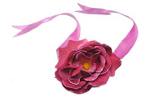 Blush Rot/Pink Rose Blumen Haar Krawatte w Band und Glitzer eingefasst Petals (zx52) -