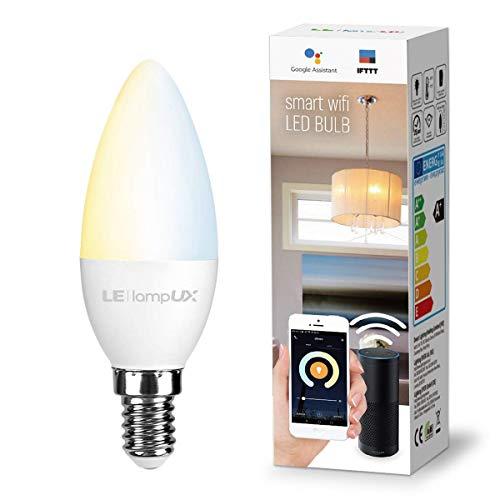 LE LampUX Smart WLAN Glühbirne E14, LED WiFi Kerze Lampe,Kalt-/Warmweiß Dimmbar Birne,Kompatibel mit Amazon Alexa Google Home IFTTT APP,kein Hub erforderlich,mit Timer-Funktion, 4,5W 2700K-6500K 380lm