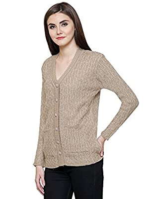 Matelco Beige Women's Woollen Buttoned v-Neck Cardigan/Sweater for Winter (Free Size)
