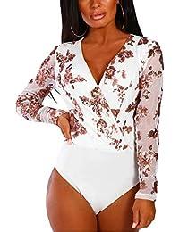 SEBOWEL Women Sheer Mesh Bodysuit Tops Party Clubwear Long Sleeve Leotard  Blouse 83a78bedd