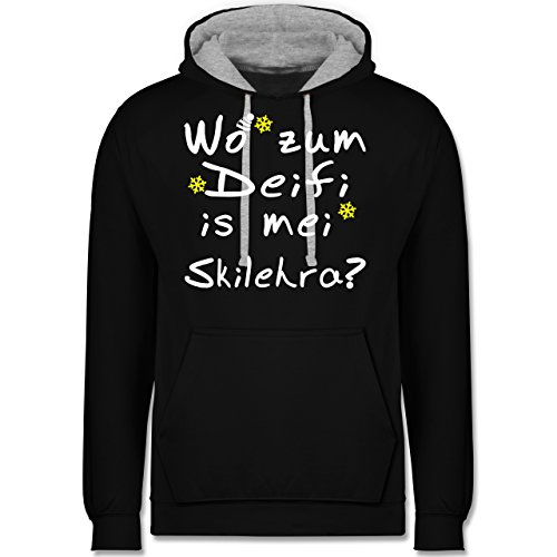 Wintersport - Wo zum Deifi is mei Skilehra - Kontrast Hoodie Schwarz/Grau Meliert