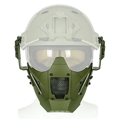 Taktische Airsoft Half Face Eisen Warrior Stahl Mesh-Maske - SCHNELLE Helm-Kombination Zubehör - Double Strap Camo Schutzmaske (Taktische Airsoft Guns)