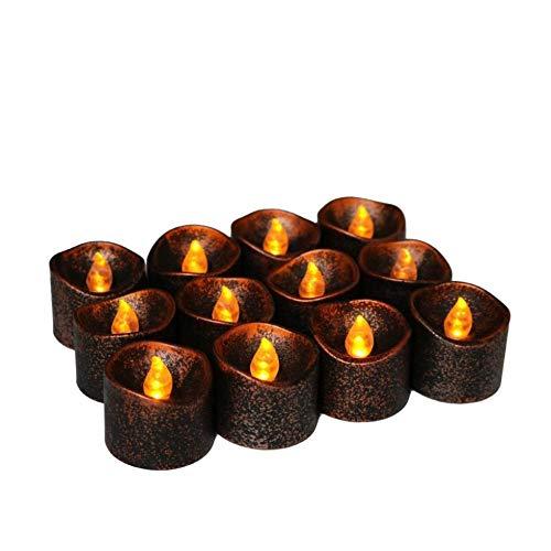YANKAN Licht, LED Kerze Halloween KüRbis Dekoration Schwarze Kerze Lampe (12 Pack) LED Kerze Elektronische Kerze (Kerzen Schwarz Led Halloween)
