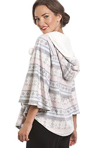 Poncho à capuche - polaire - motif frises aztèques - gris et rose Gris