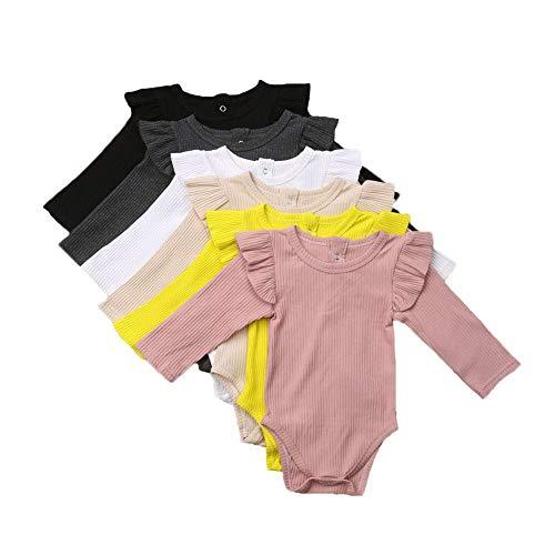 Baby Junge Mädchen 100% Baumwolle Long Sleeve Rüschen Bodys Overall Winter Herbst Top Shirt Babykleidung (Schwarz, 6-12Monate) One Piece Romper Outfit