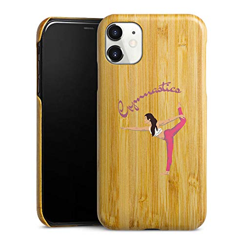 DeinDesign Holz Hülle kompatibel mit Apple iPhone 11 Holz Schutzhülle Echtholz Handyhülle Gymnastic ohne Hintergrund Hobby