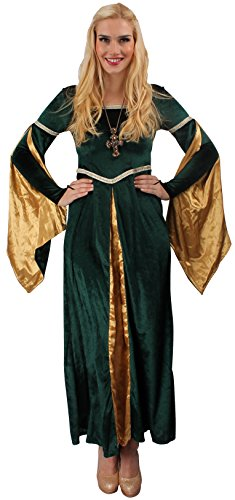 Burgfräulein Kostüm grün-gold für Damen | Größe 40/42 | 1-teiliges Edelfrau Kostüm für Karneval | Mittelalter Faschingskostüm für Frauen