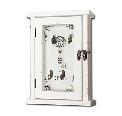 zeitzone Schlüsselkasten Keys Nostalgie Holz Shabby Chic Antik-Stil Weiß