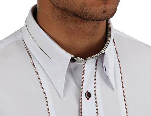 Designerhemd in Weiß, für Herren BESTE QUALITÄT, HK Mandel Freizeithemd Kurzarm Normal Nicht Tailliert, 1177K6 Weiß