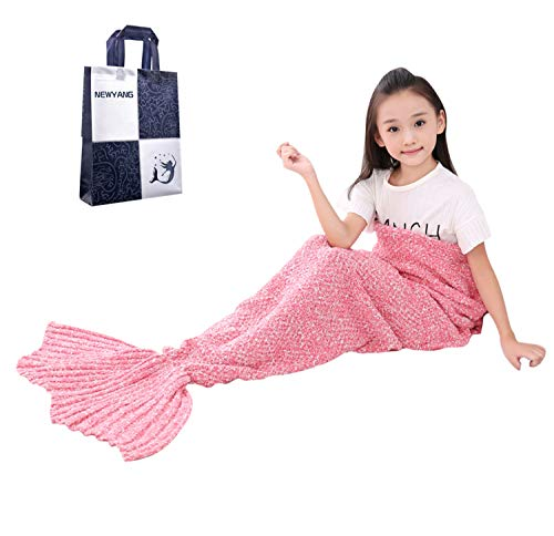 NEWYANG Meerjungfrau Flosse Decke Decke Meerjungfrau, Meerjungfrau Decke Rosa,Meerjungfrau Decke Kinder,Geschenke Für Mädchen,Spielzeug Für Mädchen, Kinder (Kid Thick Pink)