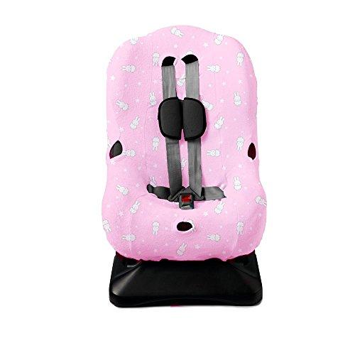 Haton Kinder Autositzbezug Jersey Gr. 1 universal für 3-Punkt und 5-Punkt Gurtsystem (Häschen rosa)