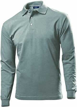 Hanes Mens Long Sleeve Top Pique Polo Shirt Grey Heather X-Large