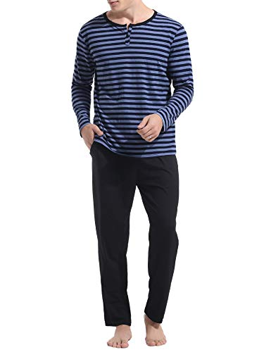 Aibrou Herren WinterPyjama Set, Warm Langarm Zweiteiliger Schlafanzug Langarm Rundhals Blau L