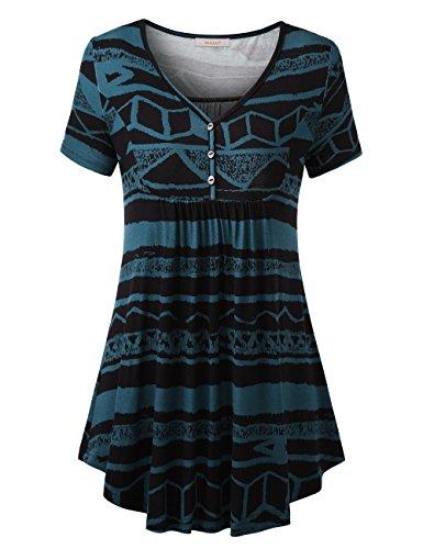 WAJAT Damen Henleyshirt LongTee V-Ausschinitt Tunika Vintage Basic Blau S