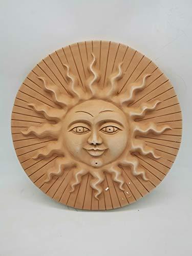 Deko Wandbilder -Sonne und Mond- aus italienischem Terrakotta in verschiedenen Größen -frostfest und witterungsbeständig- QUALITÄTSWARE schöne Dekoration für Garten und Terrasse (Sole Righe 31cm)
