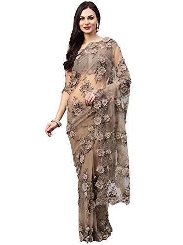 AKHILAM Women\'s Net Embellished Saree with Unstitched Blouse Piece (Grey_SAR15686B)