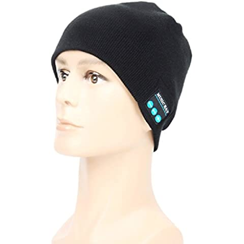 Bluetooth Headset sombrero – Megadream invierno desmontable inalámbrico Bluetooth Auricular MP3 Audio Música gorro de lana gorro de invierno con control de volumen estéreo & altavoces & manos libres Micrófono lavable Unisex gorro de invierno de punto con ganchillo baggy boina Beanie Cap Navidad regalos, 2 colores disponibles, color Black Music Hat, tamaño For Bluetooth Enable Devices
