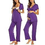Unibelle Damen Stillpyjama-Umstandspyjama-Schlafanzug Zweiteilig Hausanzug Pyjamas Ärmellos& Hosen mit Stillfunktion S-XXL