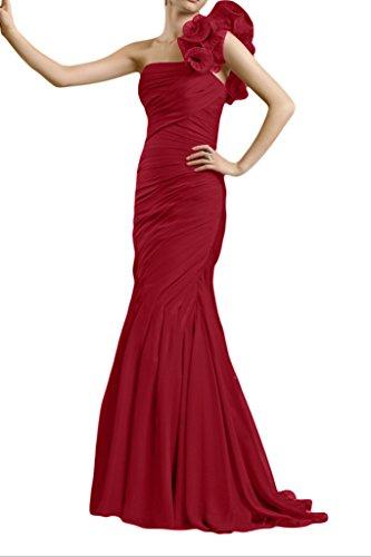 Gorgeous Bride Fashion Ein-Traeger Meerjungfrau Chiffon Lang Brautmutterkleider Abendkleider Festkleider Weinrot