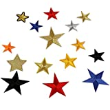Milya 15 in 1 Aufnäher Bügelbild Aufbügler Bügeleisen auf Patches Applikation fünfeckiger Stern Muster 15er für T-Shirt Jeans Kleidung Taschen