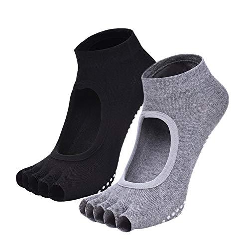 iClosam Yoga Socken 2 Pair Rutschfestes für Pilates, Ballett - Zehen-socken Yoga Griffen Männer Mit