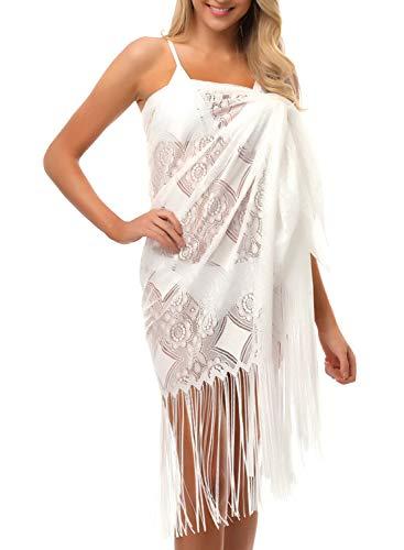 Sixyotie copricostume mare donna scialle allentato beach wear costume da bagno in pizzo con balze in chiffon (bianca, taglia unica)