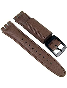 Swatch Ersatzband Uhrenarmband Leder Band 19mm Braun für Yellow Glas SUJB400